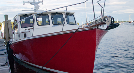 new Lowell 38 lobster boat at dock