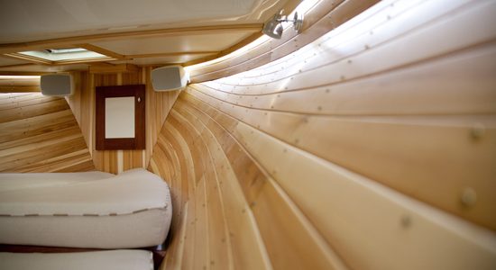 Lowell 38 berth with cedar ceiling